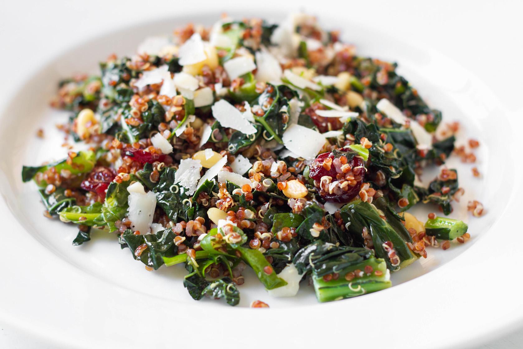 Kale, Spinach and Quinoa Salad with Lemon Vinaigrette